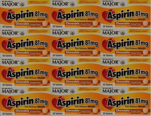 Aspirin 81mg Chewable Orange Flavored Tablets Generic for Bayer Children's Aspirin 36 Tabs per Boxe Pack of 12 Toatal 432 Tabs. by Major Pharmaceuticals by Major Pharmaceuticals