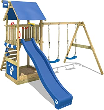 WICKEY Parque infantil de madera Smart Shelter con columpio y tobogán azul, Torre de escalada da exterior con arenero y escalera para niños: Amazon.es: Bricolaje y herramientas