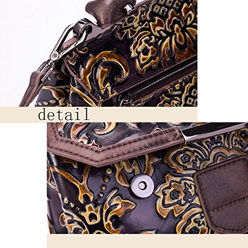 Style Surface Hand Ffllas National Shoulder Crossbody Embossing Bags Handbag Ladies Portable 4 Bag Cowhide Vintage Colored 44Tq0vw