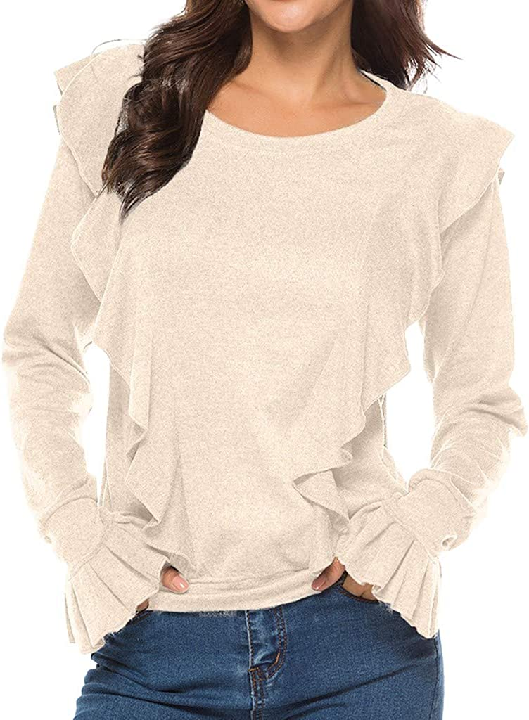 RUIVE Women/'s Ruffle Sweatshirt Autumn Pleated Basic Shirt Casual Crew Neck Blouse Ladies Tunic Crop Tops