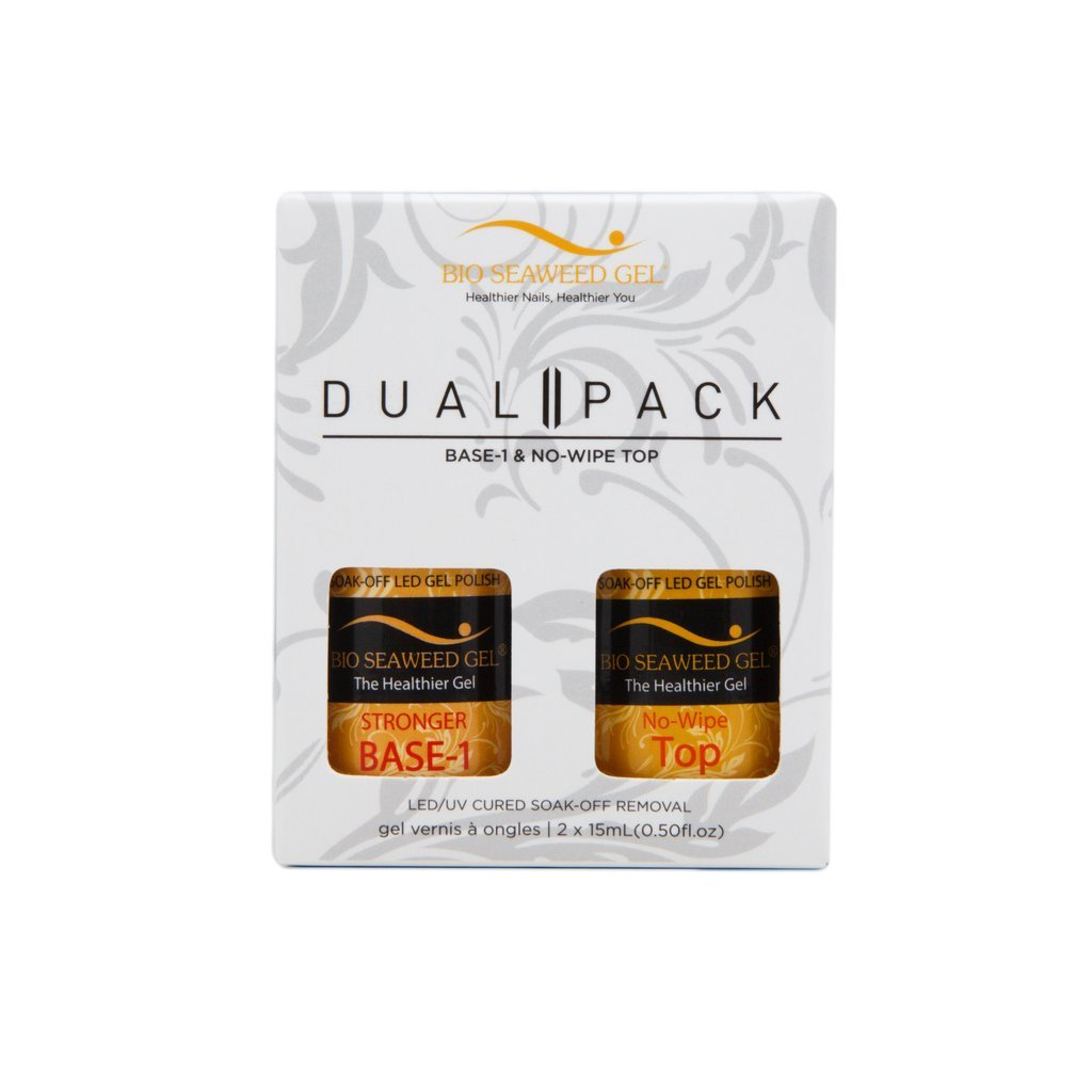 STRONGER DUAL PACK: STRONGER BASE-1 AND NO-WIPE TOP COAT Bio SeaWeed Gel