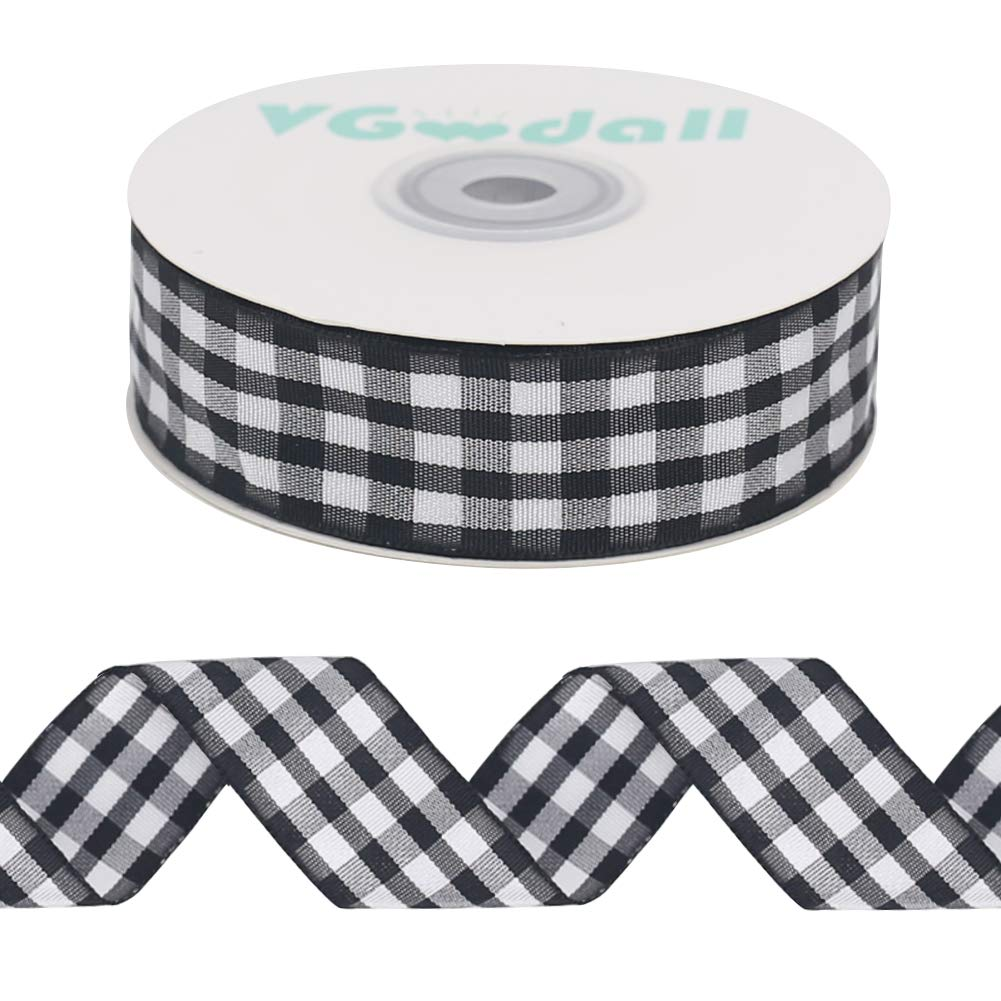 Buffalo Ribbon Decoration-25 Yards and 1 Inch White and Black Gingham Ribbon, Decorate Your House,Staircase and DIY Any Kind of Style You Like