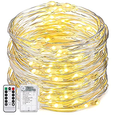 Oak Leaf Dimmable String Lights,19.7ft 60 LED 8 Modes Flexible Silver Wire Starry Lights Battery Operated,Waterproof Design with Remote Control,Warm - Copper Window Box