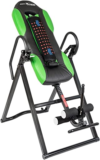 Body Xtreme Fitness Inversion Table, Advanced Heat and Massage Therapeutic Inversion Table, Comfort Foam Backrest, Back Fitness Therapy Relief, Increase Blood Circulation