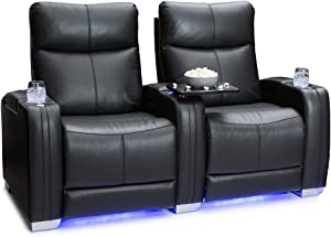Seatcraft Solstice Home Theater Seating - Top Grain Leather - Power Recline - Power Lumbar - Power Headrest - USB Charging - in-Arm Storage - Lighted Cupholders and Baselighting (Row of 2, Black)