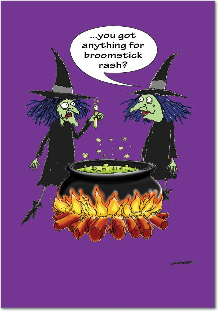 3096 'eruzione' Diverdeente e strega Halloween biglietto d' auguri con 12,7 x 17,8 cm busta by Nobleworks