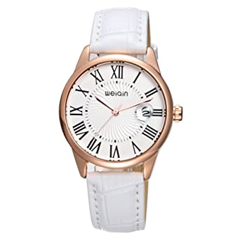 Fashion Women Leather Watches,Classic Simple Ladies Dress Watches Waterproof (White)