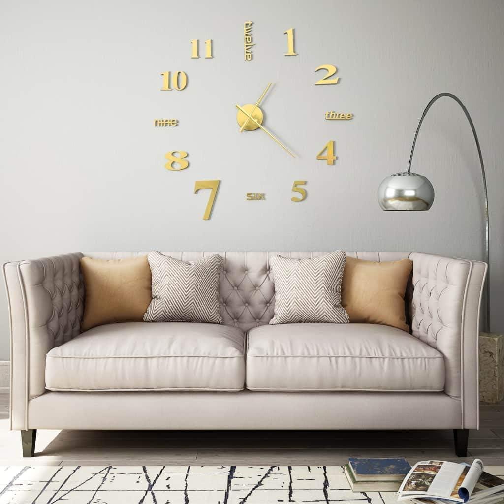 vidaXL 3D Wanduhr Modernes Design 100cm XXL Golden Wand Uhr Wandtattoo Deko DE