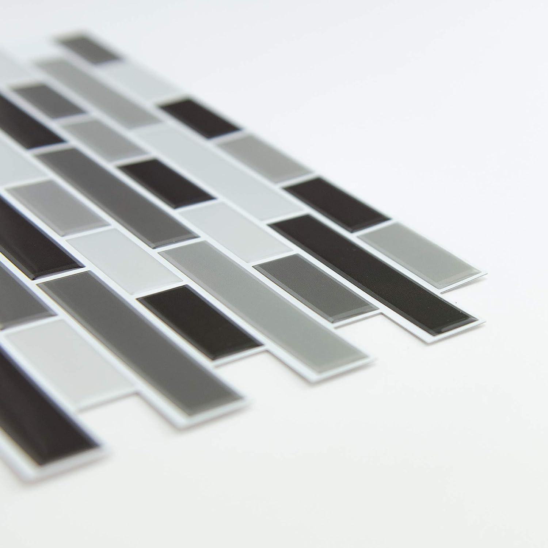 Inhome nh2362/Smoked Glas Abziehen und Aufkleben Duett Fliesen schwarz