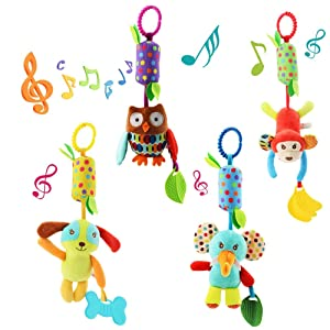 Baby Hanging Rattles Newborn Crib Colorful Animal Bell Soft Baby Sensory Rattles with Teether for Babies Boys and Girls 3 6 9 to 12 Months (4 Pack)