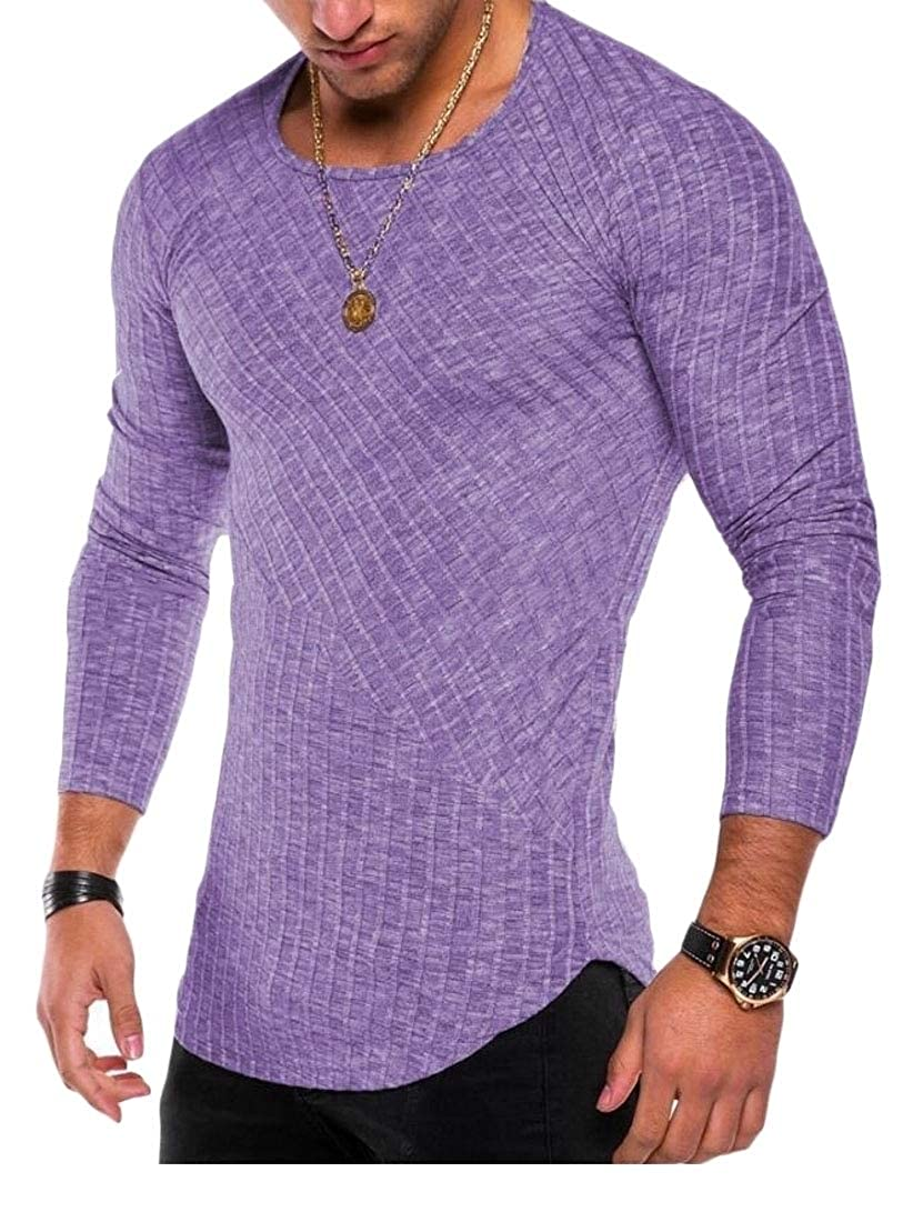 Jmwss QD Mens Tops Stripe Round Neck Long Sleeve Stitching T-Shirt Blouse
