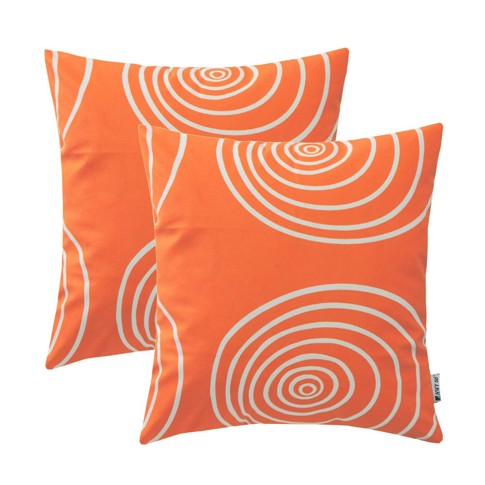 HWY 50 Polyester Fleece Comfortable Decorative Throw Pillow Covers Sets Cushion Cases for Couch Sofa Bed Living Room Orange European Style Circle Design 18 x 18 inch 45 x 45 cm Pack of 2