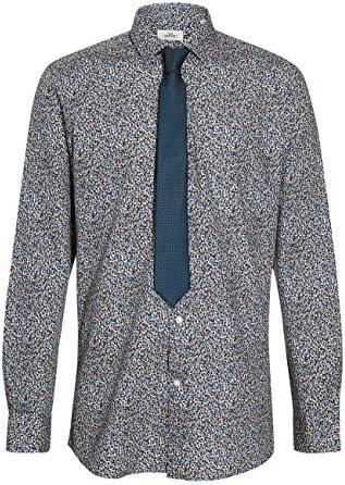 next Hombre Conjunto De Corbata Y Camisa Entallada con Estampado De Flores Teal/Marrón 13 1/2R: Amazon.es: Ropa y accesorios