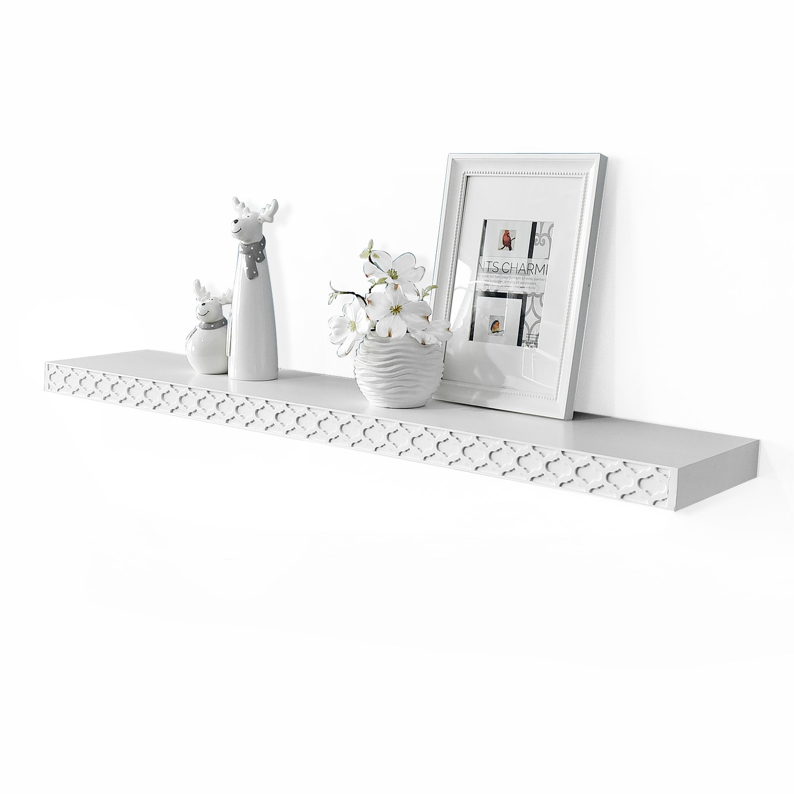WELLAND 36 inch Carving Pattern Wooden Floating Shelves, Picture Display Floating Wall Shelf Ledge Shelf (White, 36 inch)