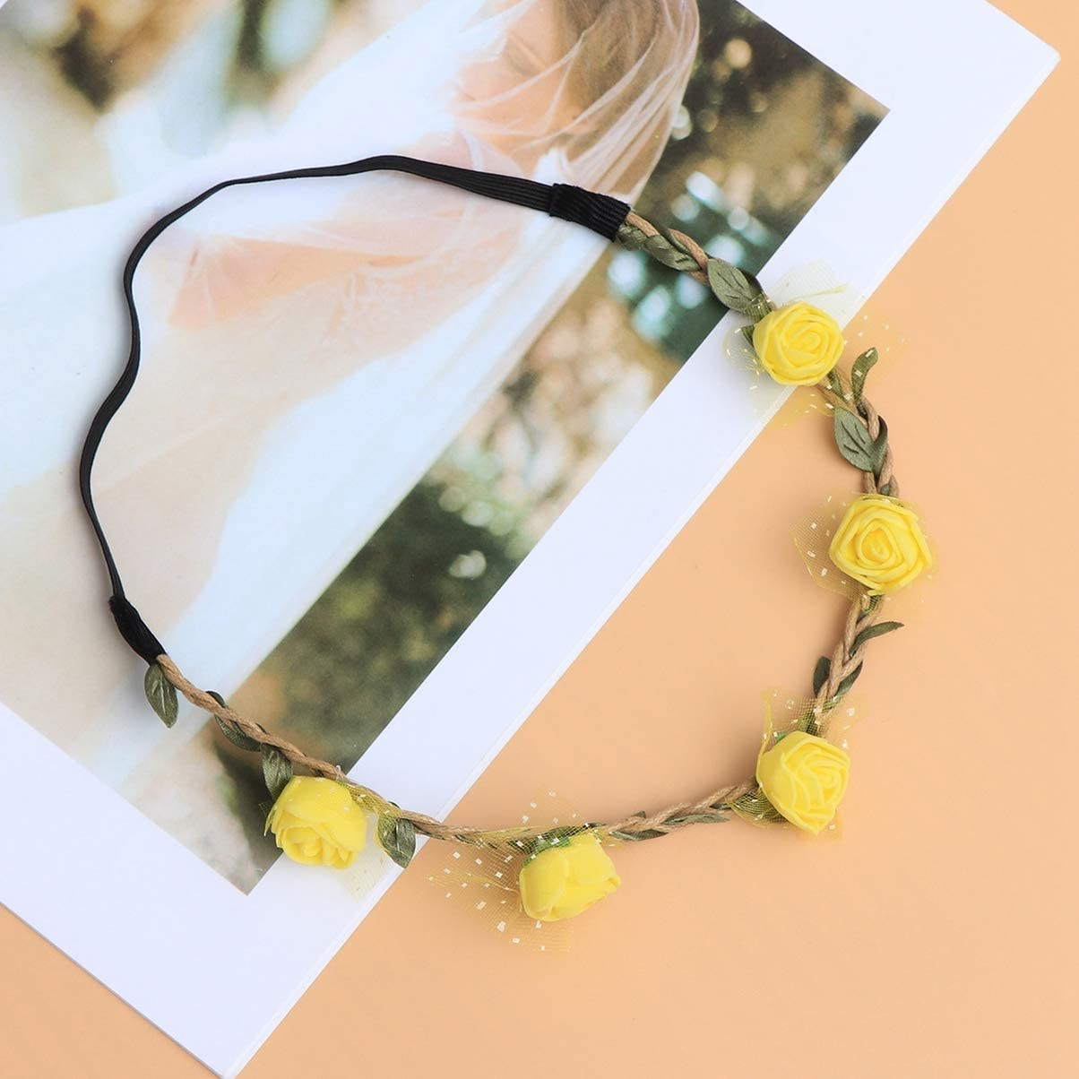Yellow Amosfun Flower Headband Vintage Boho Flower Hair Wreath Floral Garland Crown Halo Headpiece for Christmas Holiday Wedding Travel
