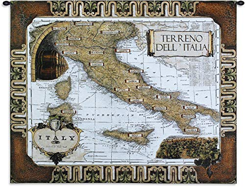 (Italian Wine Country | Woven Tapestry Wall Art Hanging | Terrano Dell Italia Wine Regions Italy Toned Map | 100% Cotton USA 42X53)