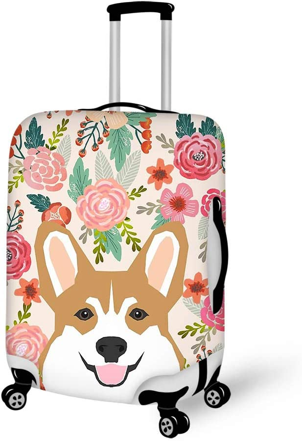 Luggage Cover Welsh Corgi Florals Spring Flowers Summer Bloom Protective Travel Trunk Case Elastic Luggage Suitcase Protector Cover
