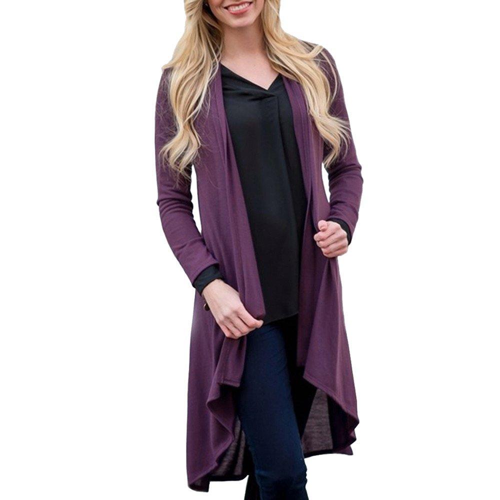 Women Blouses Hot WEUIE Fashion Womens Solid Shawl Print Kimono Cardigan Top Cover Up Blouse Beachwear (L,Purple)