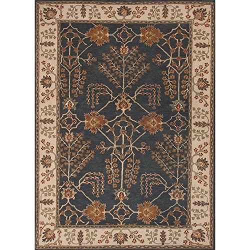 Diva At Home 2' x 3' English Red and Blue Chambery Classic Arts And Crafts Style Hand-Tufted Wool Area Throw (Arts & Crafts Rug)
