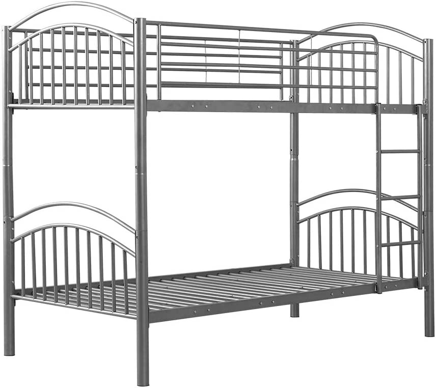 Panana Metal Kids Bunk Bed Twin Sleeper Modern Children 3FT Single Bed Frame Bedroom Furniture (White) Silver