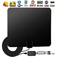 Gugou HDTV Antenna, HD Digital Indoor TV Antenna Upgraded 2018 Version, 80 Miles Long Range with Amplifier Signal Booster for 1080P 4K Free TV Channels, Amplified 10ft Coax Cable