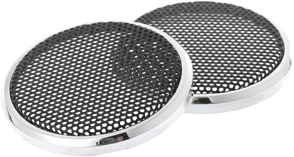 SimpleLif 50mm Speaker Grills Cover Case Round Grill Protective Speaker Decorative Circle Audio Accessories-Set of 2,Black