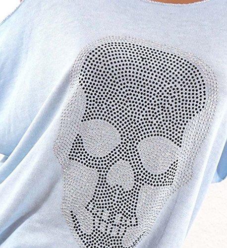 Allentate Maglietta Modo Donne delle di Estate del Grigio del Manicotto Casuali di Maglietta del della Parti Manicotto Superiori Cranio rBparq