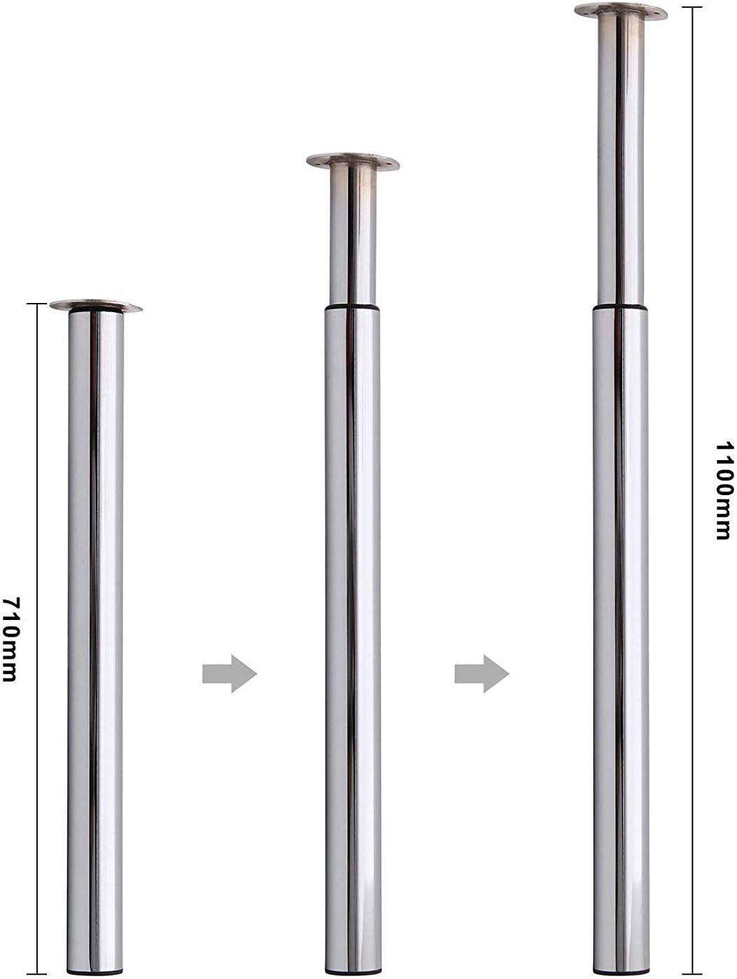 Multiware 4 x Pied de Table Reglable Hauteur R/églable 710mm-1104mm t/élescopique Chrome Poli