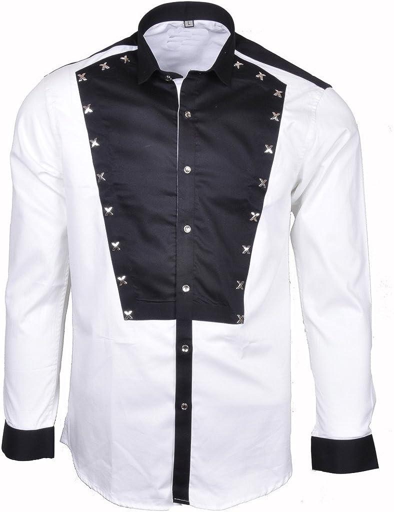 Mens Casual Satin Cotton Contrast Slim Fit Button Down Shirt Paisley Long Sleeve Dress Shirt Large Size