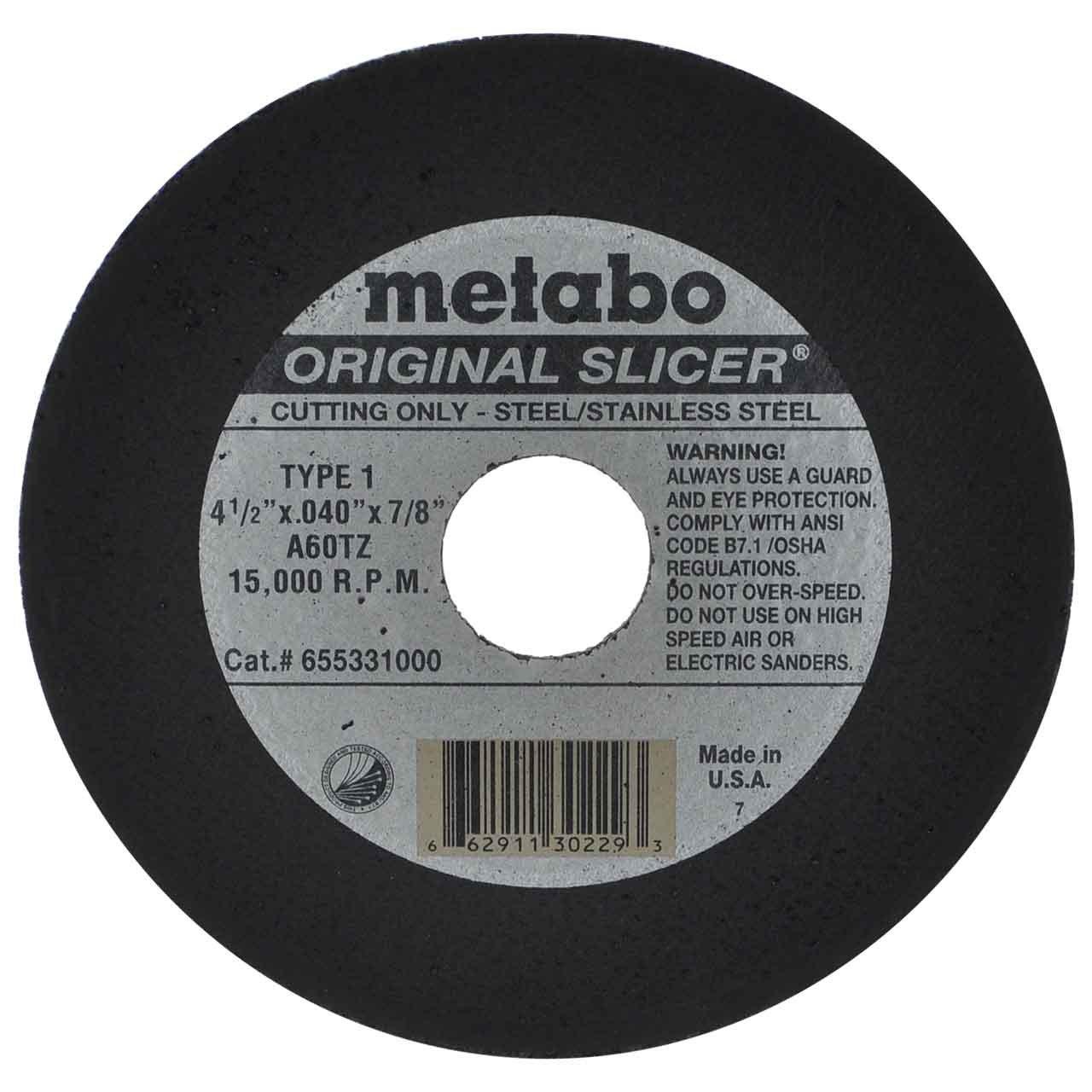 "Metabo Slicer Cut Off Wheel 4-1/2"" X .040 Box Of 100"