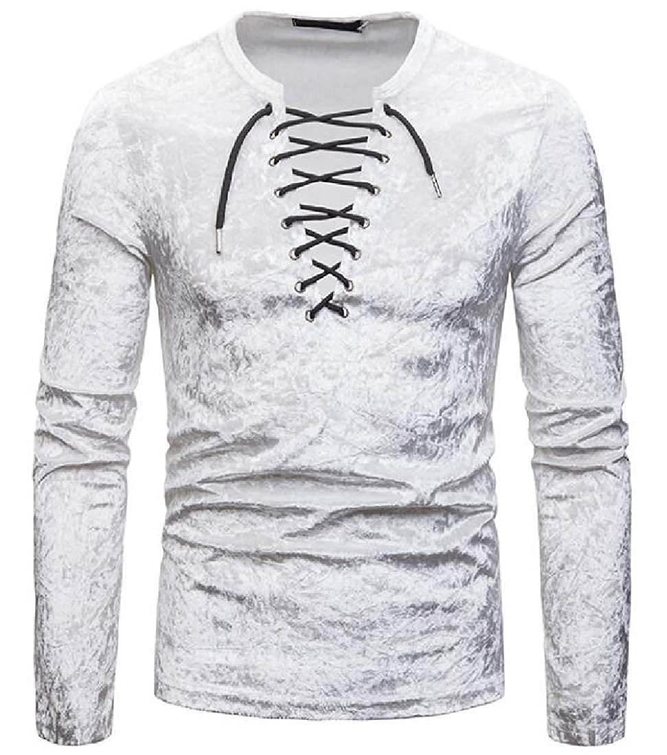 Spirio Mens Lace Up V Neck Long Sleeve Fashion Club Velvet T-Shirts Tee