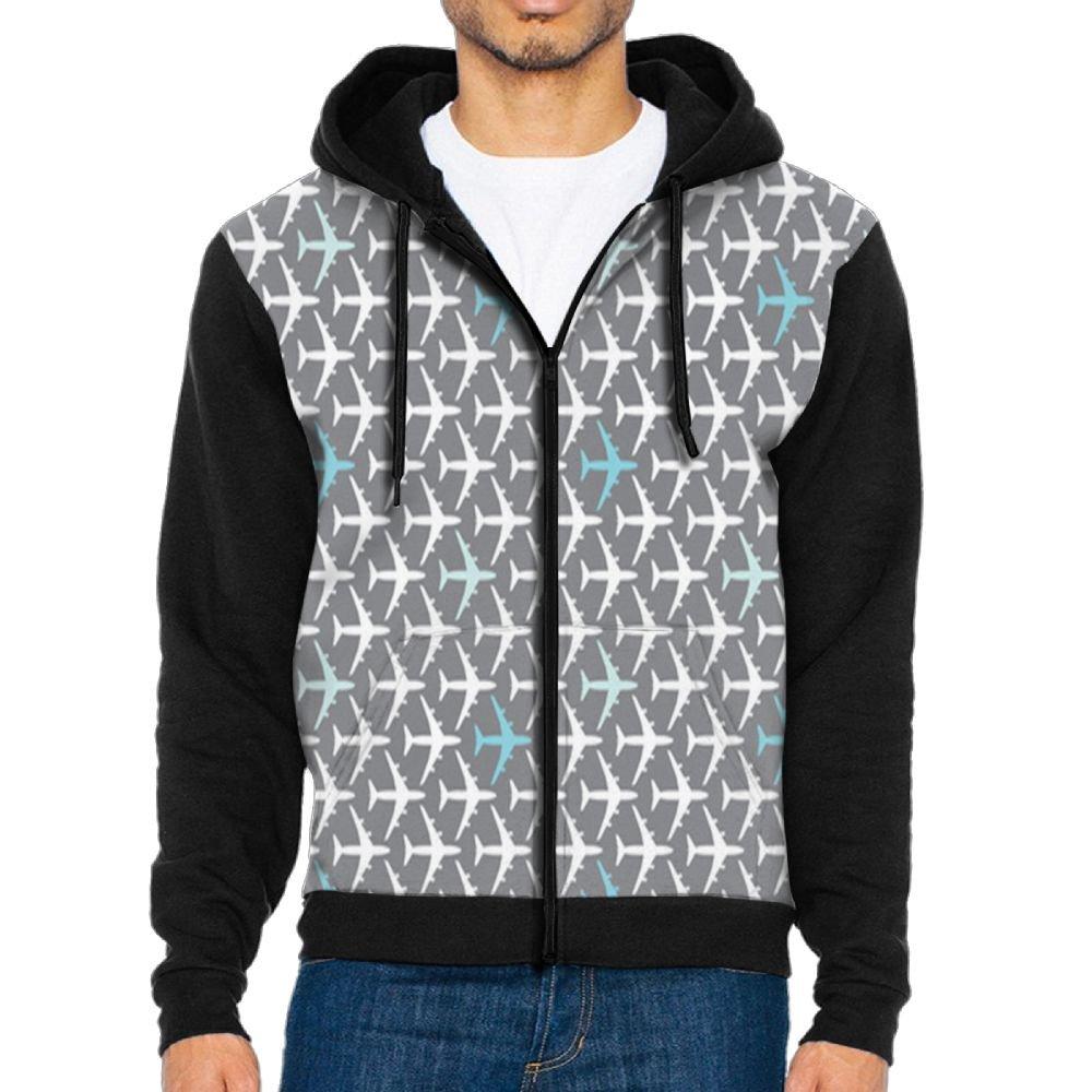 Futong Huaxia Plane Novelty Men Zipper Hoodie Sweatshirt Sportswear Jackets With Pockets Black