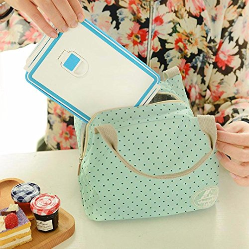 Box Portable Bag Organizer 5cm Thermal Cooler Bag Zipper Lunch Insulated 17cm 5cm Picnic 15 Tote Cherry Lunch 23 Office Green Manadlian Lunch Pink qXAw7EF6