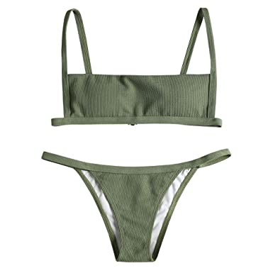 a32b06f337f ZAFUL Women's Ribbed Square Neck Padded High Cut String Bikini Set Swimsuit  (Forest Green,