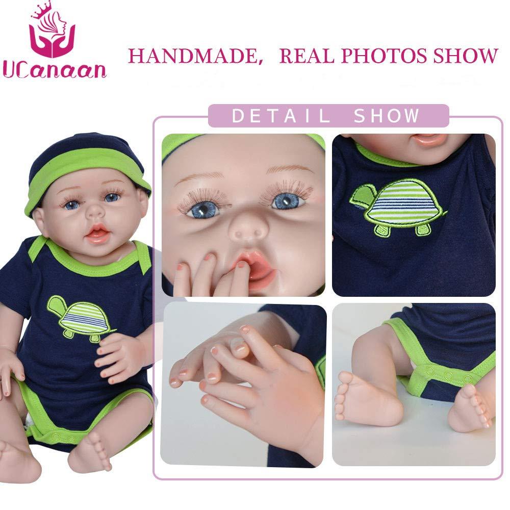 UCanaan Reborn Baby Dolls Silicone Full Body 20 Inch Handmade Lifelike Realistic Newborn Baby Doll Soft Vinyl Baby Alive Doll - Brown Eyes Boy