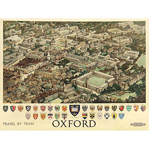 - Wee Blue Coo Travel Oxford England British Railways Crest Coat of Arms Heraldry Unframed Wall Art Print Poster Home Decor Premium