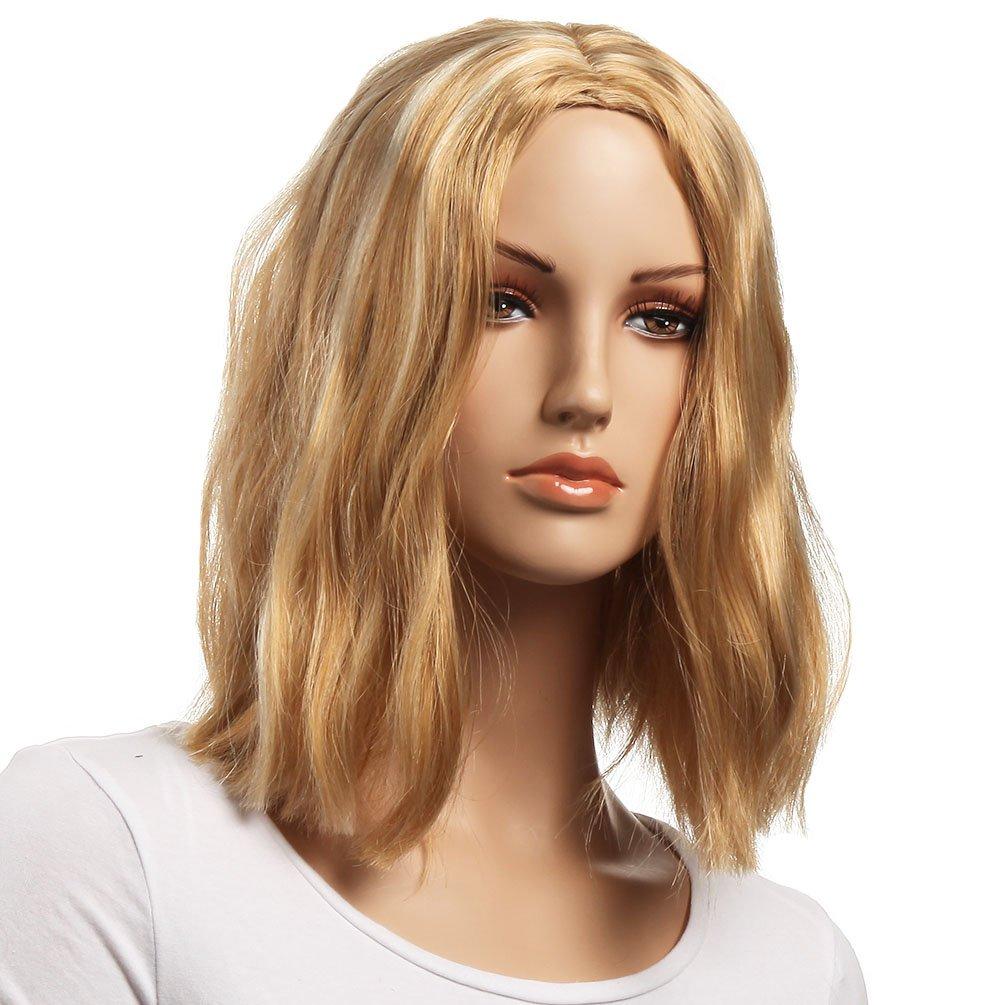 Corta Rubia BOB pelucas parte media Popular estilo platino peluca 14 pulgadas sintéticas Kanekalon extensiones 1 mes de garantía (NATURAL WAVE-1): ...
