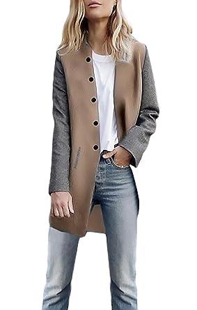 Abrigos Mujer Otoño Invierno Casual Manga Larga Un Solo Pecho Elegant Vintage Moda Medium Largos Abrigo Parka Cárdigan Sudadera Chaqueta Jacket Outwear Para ...