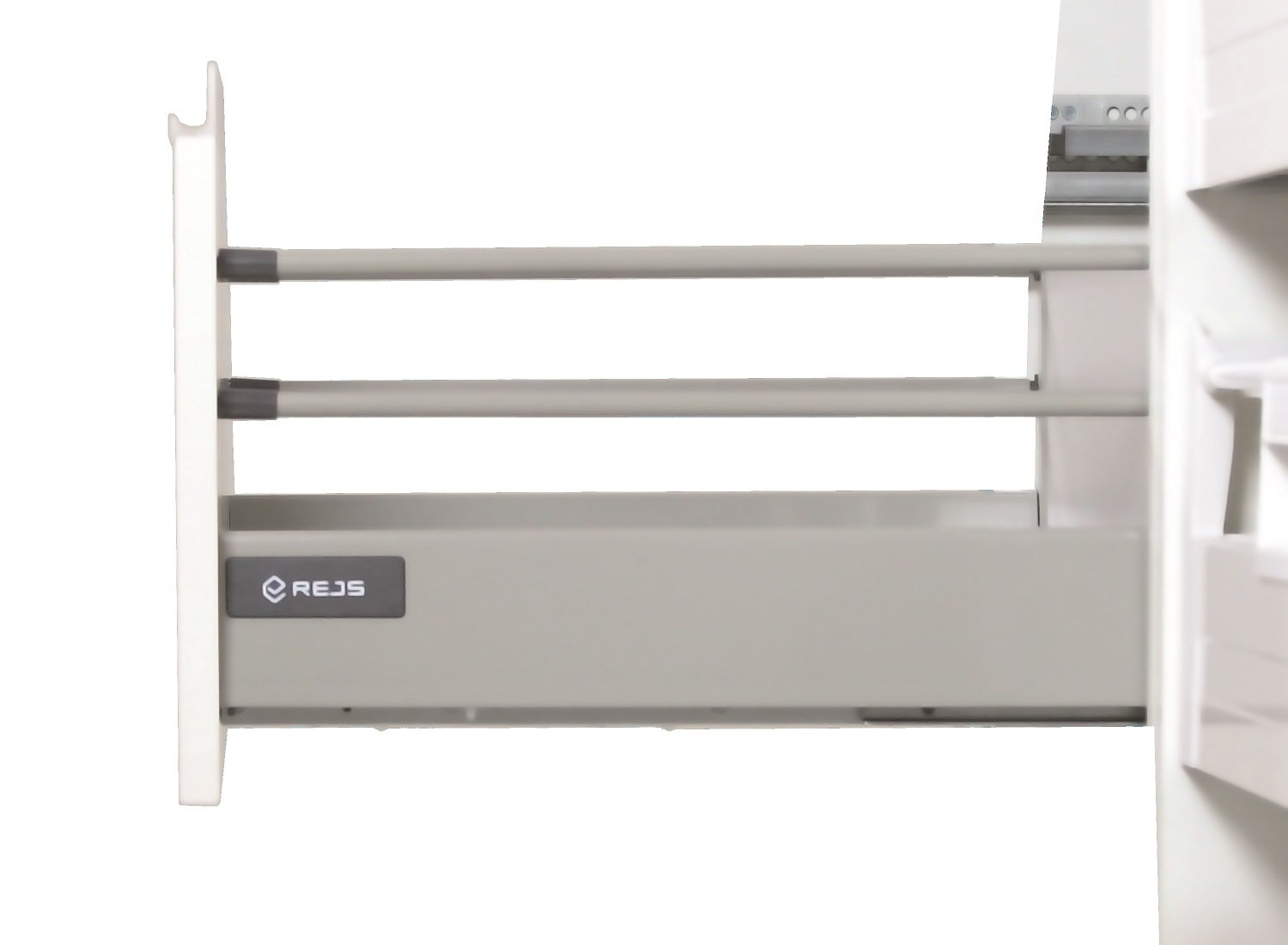 Soft Close Kitchen Drawer Runners System L - 500 - Comfort Box by Rejs round top rail (H = 86mm, White)