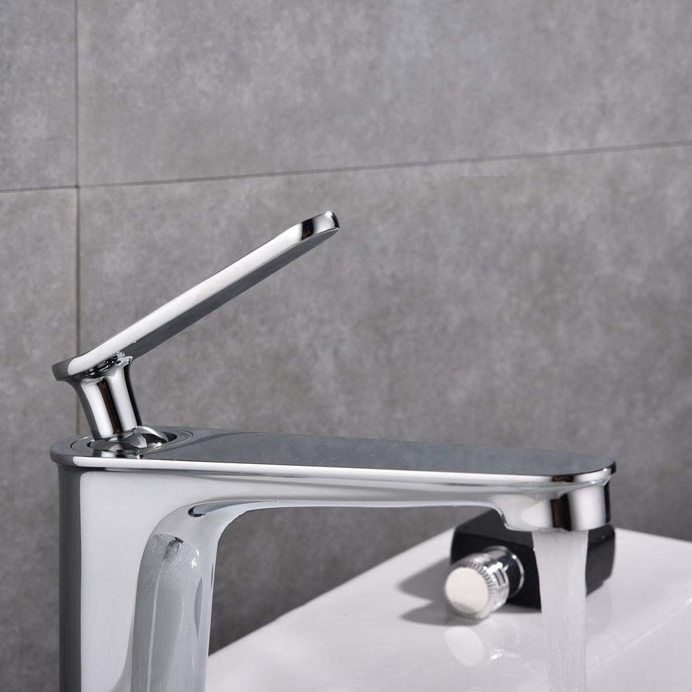 VOTON-A1507C Modern Classic Simple Single Handle Single Hole Bathroom Basin Sink Faucet Lead-Free Hot and Cold Mixing Faucet Chrome