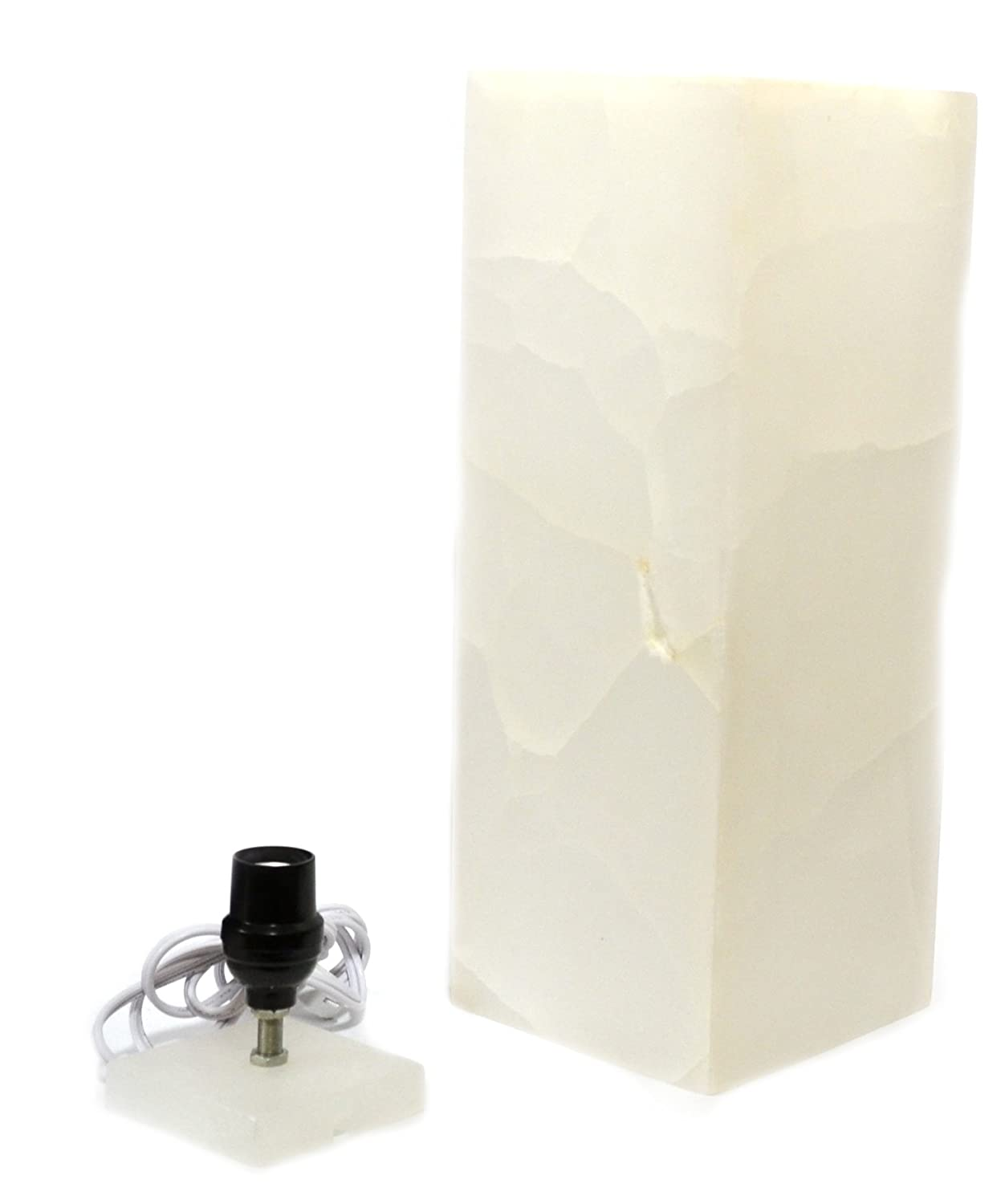16 Tall The Artisan Mined Series by hBAR Pearlescent White Stone Prism Lamp Carved from Real North American Onyx