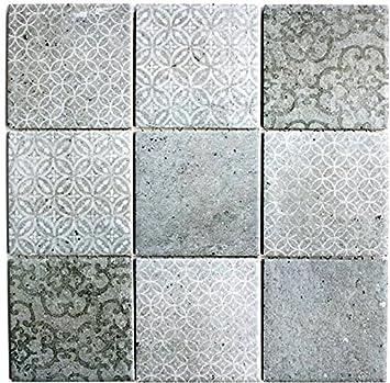 Retro Vintage Mosaik Fliese Keramik grau für WAND BAD WC ...