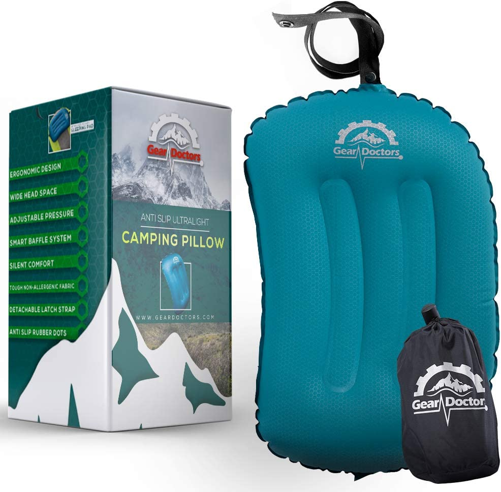 Blue Camping Pillow Compact and Comfortable Perfect for Camping Hiking Gear Doctors Anti-Slip Ultralight Inflatable Camping Pillow Ergonomic Design for Maximum Neck and Back Support