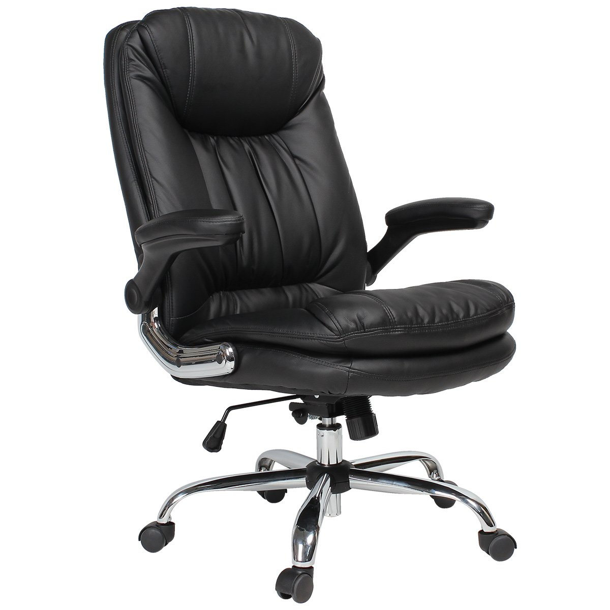 YAMASORO Ergonomic Home Office Chair with Flip-Up Arms and Comfy Headrest PU Leather High-Back Computer Desk Chair Big and Tall Capacity 330lbs Black by YAMASORO (Image #2)
