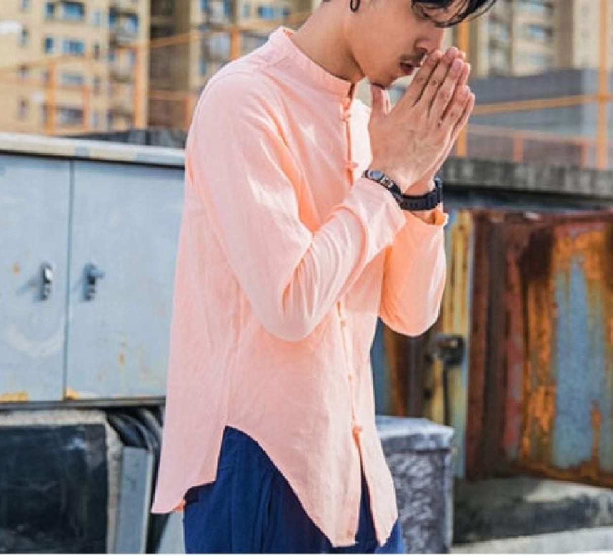 Coolred-Men Long Sleeve Chinese Style Regular-Fit Cotton//Linen Work Shirt