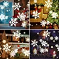 Water Wave Christmas Projector Lights, CAMTOA LED Double Projector Lamp 2-in-1 with Rotating Snowflake Snowfall&Remote Timer&12 Slides&10 Colors, Waterproof Effect Projector for Night Light Decoration