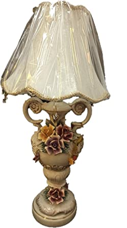 300 & Victorian Style Ceramic Flower Vase Lamp with Shade ...