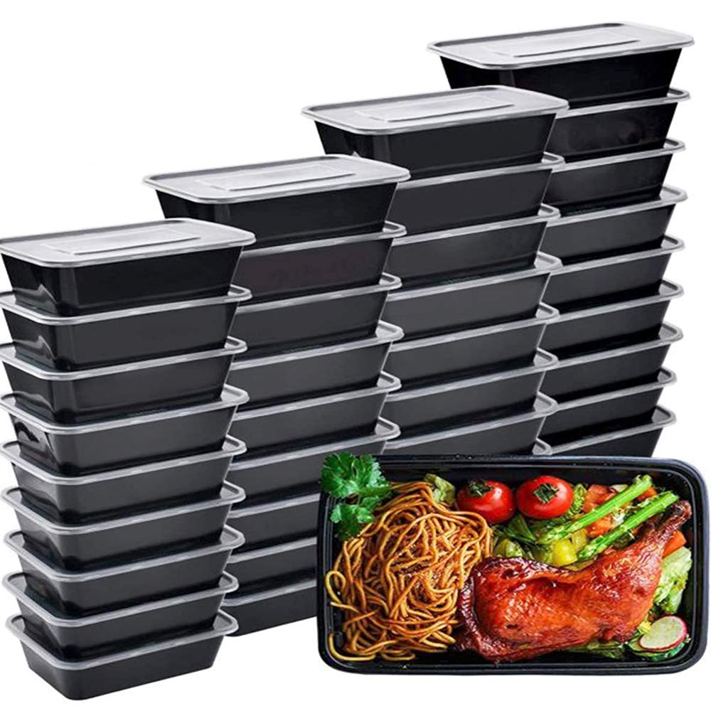 IUMÉ 50-Pack Meal Prep Container, 750ML/ 26 OZ Microwavable Food Containers with Lids for Meal Prepping ,Disposable Plastic Bento Boxes BPA Free Lunch Boxes- Stackable, Reusable Dishwasher Safe