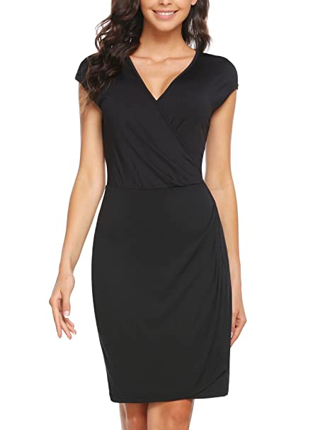 89ea25e3238 Zeagoo Basic Women Black Dress with Cap Sleeve V Neck Wear to Work Black S