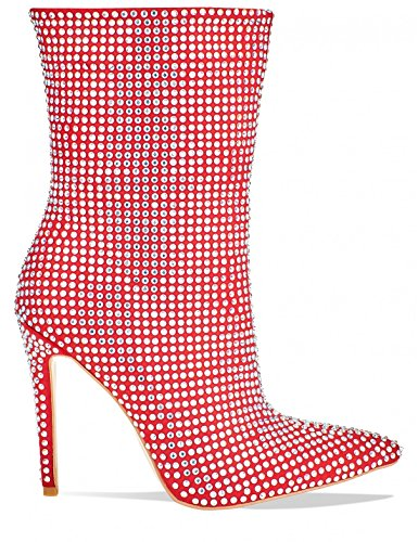 LAMODA Womens Diamante Stiletto Heeled Ankle Boots in Faux Suede Red